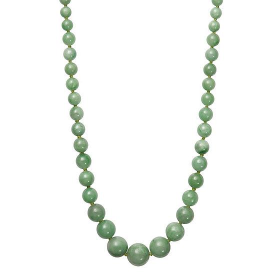Womens Green Jade 14K Gold Round Strand Necklace