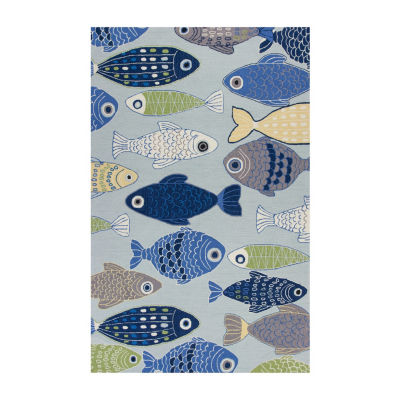 Kas Sea Of Fish Hooked Rectangular, Round & Runner  Rugs