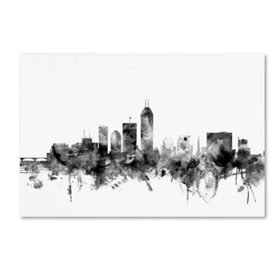 Trademark Fine Art Michael Tompsett Indianapolis IN Skyline B&W Giclee Canvas Art