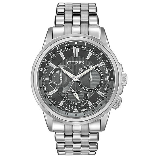 Citizen Calendrier Mens Silver Tone Stainless Steel Bracelet Watch-Bu2021-51h