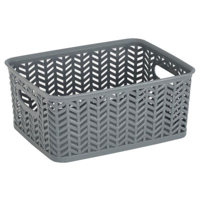 Resin Herringbone Storage Tote-Grey-Small 10X8X4