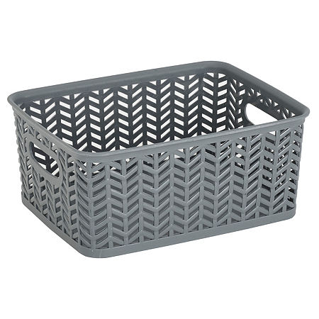 Resin Herringbone Storage Tote-Grey-Small 10X8X4, One Size , Gray
