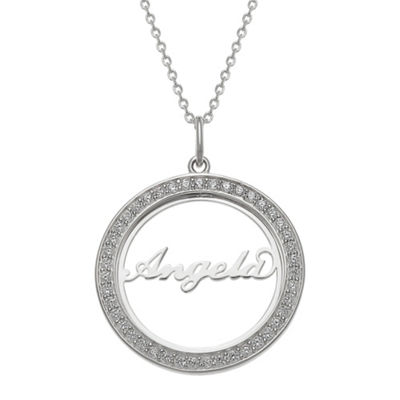 Personalized Womens Simulated White Cubic Zirconia Sterling Silver Pendant Necklace