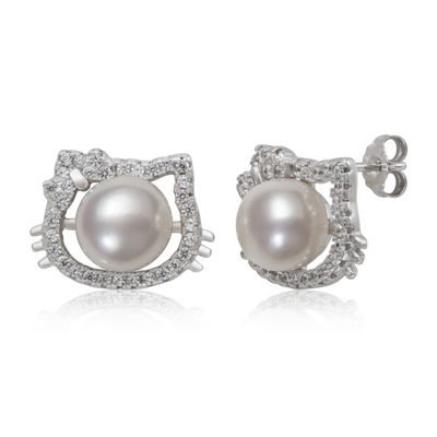 White Cultured Freshwater Pearl Sterling Silver 11.6mm Round Hello Kitty Stud Earrings