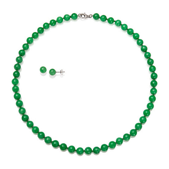Green Jade Sterling Silver Round 2-pc. Jewelry Set