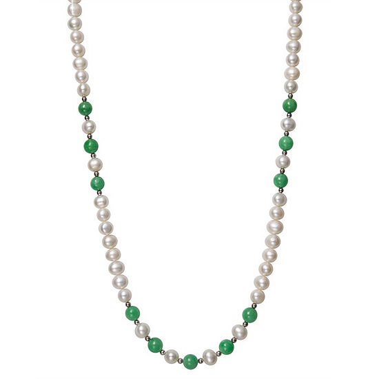 Womens 7MM Green Jade Cultured Freshwater Pearl Sterling Silver Round Strand Necklace
