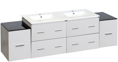 74-in. W Wall Mount White Vanity Set For 1 Hole Drilling