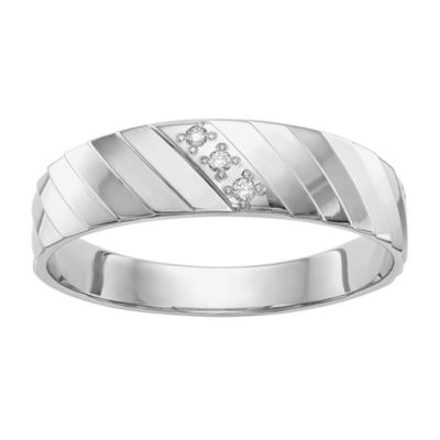 Mens 3.5mm Diamond Accent Genuine White Diamond 14K White Gold Wedding Band