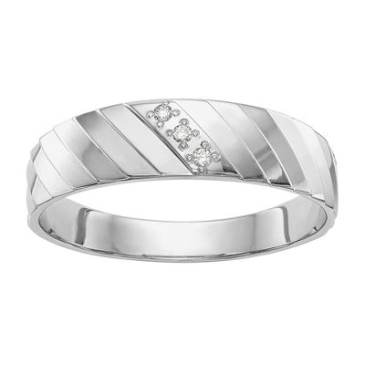 Mens 3.5mm Diamond Accent Genuine White Diamond Wedding Band