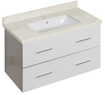 36-in. W Wall Mount White Vanity Set For 1 Hole Drilling Beige Top White UM Sink