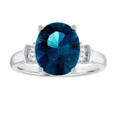 Womens Blue Topaz 10K Gold Cocktail Ring