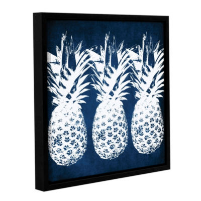 Indigo Pineapple Floater-Framed Gallery Wrapped Canvas
