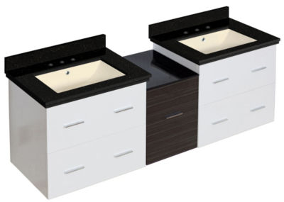 61.5-in. W Wall Mount White-Dawn Grey Vanity Set For 3H8-in. Drilling Black Galaxy Top Biscuit UM Sink
