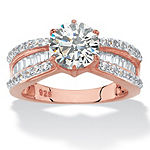 Womens 3 CT. T.W. White Cubic Zirconia 18K Rose Gold Over Silver Bridal Set