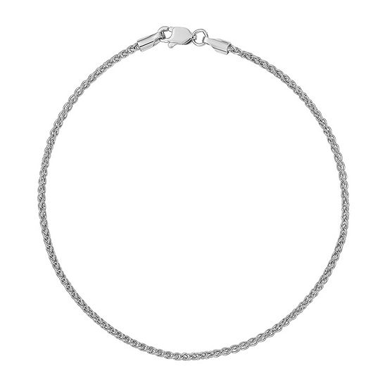 14K White Gold 10 Inch Solid Wheat Chain Bracelet