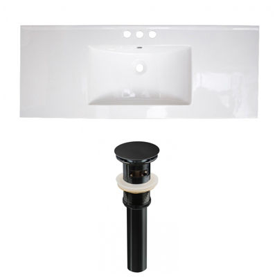 39.75-in. W 3H4-in. Ceramic Top Set In White Color- Overflow Drain Incl.