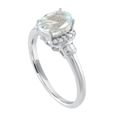 Womens 1/10 CT. T.W. Blue Aquamarine 10K Gold Cocktail Ring