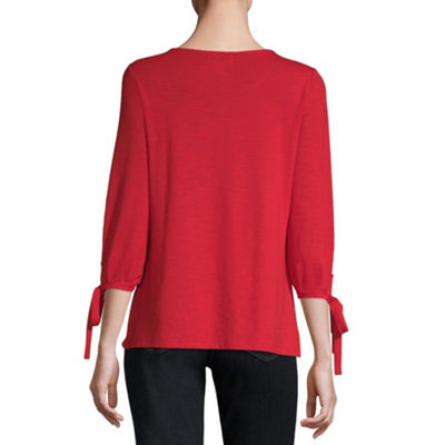 Liz Claiborne-Womens Scoop Neck 3/4 Sleeve T-Shirt