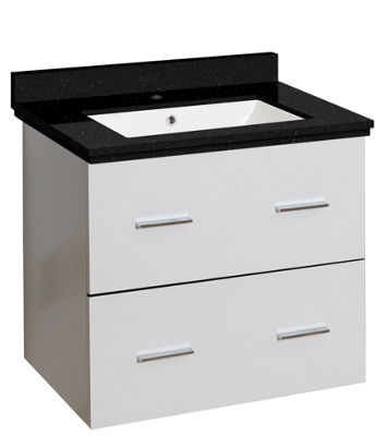 23.75-in. W Wall Mount White Vanity Set For 1 HoleDrilling Black Galaxy Top White UM Sink