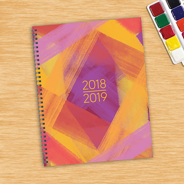July 2018 - June 2019  Painted Colors Large WeeklyMonthly Planner