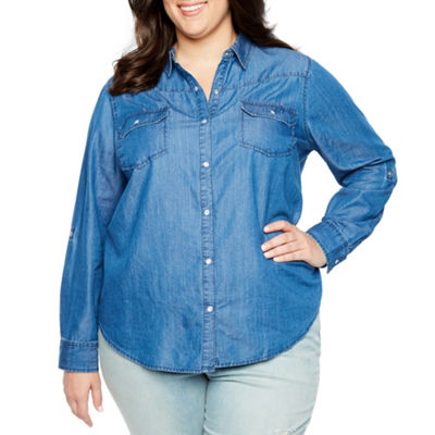 Boutique + Chambray Button-Down Shirt - Plus