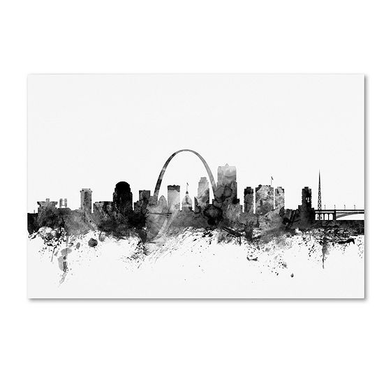 Trademark Fine Art Michael Tompsett St Louis Missouri Skyline B&W Giclee Canvas Art