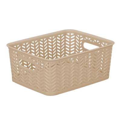 Resin Herringbone Storage Tote-Taupe-Small 10X8X4