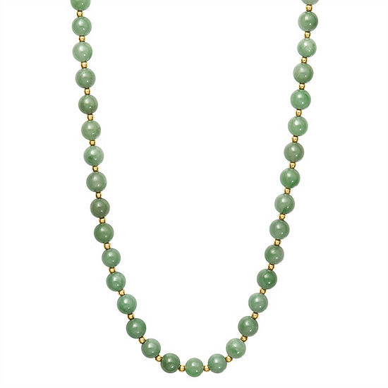 Womens Green Jade 14K Gold Round Strand Necklace