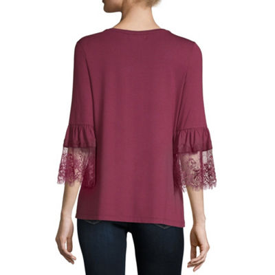 Liz Claiborne Womens Round Neck 3/4 Sleeve Jersey Lace Blouse