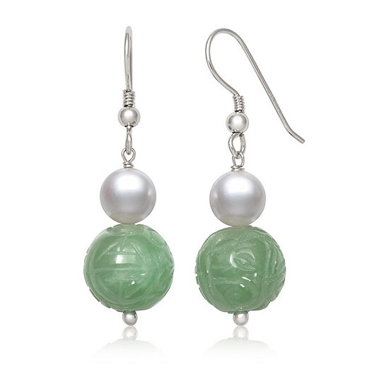 Green Jade Cultured Freshwater Pearl Sterling Silver Round Drop Earrings