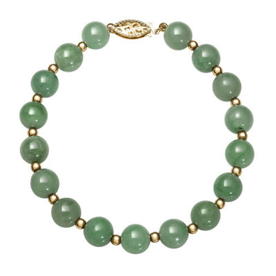 Green Jade 14K Gold Round Beaded Bracelet