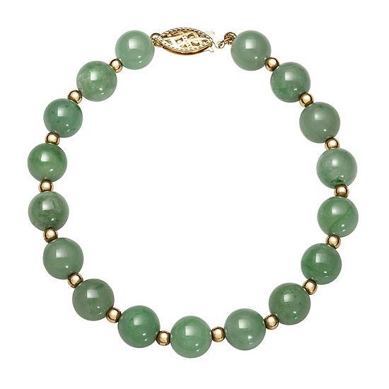 Green Jade 14K Gold Round Beaded Bracelet