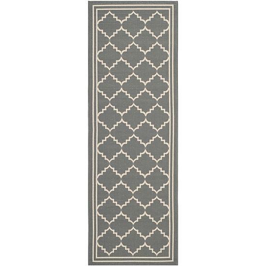 Safavieh Courtyard Collection Skin Geometric Indoor/Outdoor Runner Rug