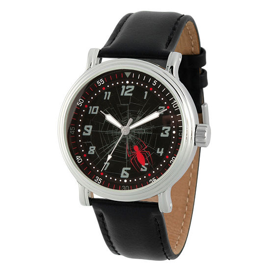 Marvel Marvel Mens Black Leather Strap Watch-Wma000267