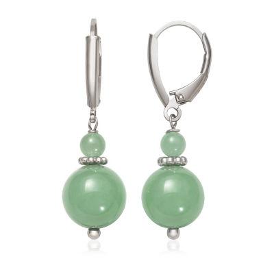 Green Jade Sterling Silver Round Drop Earrings
