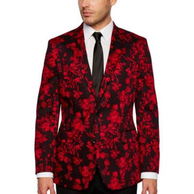 JF J.Ferrar Holiday Red Floral Classic Fit Sport Coat
