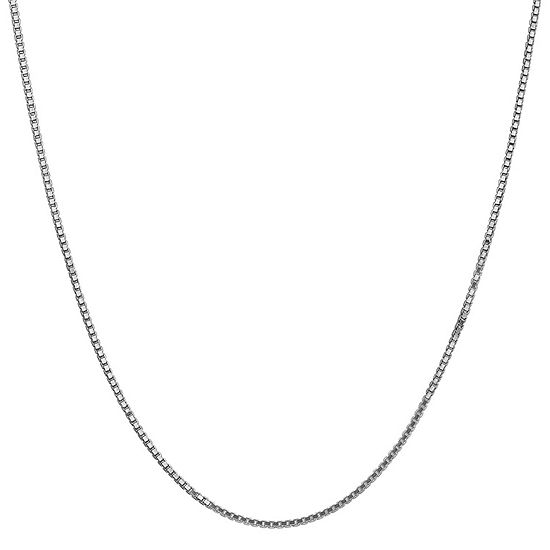 """14K White Gold Solid Box 16""""-30"""" Chain Necklace"""