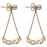 Personalized 14K Gold Over Silver Drop Earrings