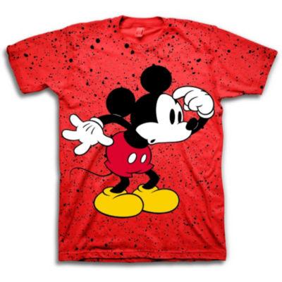 Disney Short Sleeve Crew Neck Mickey Mouse T-Shirt-Big Kid Boys