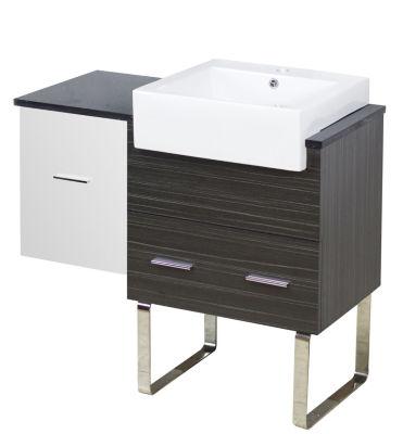 36.75-in. W 18-in. D Modern Plywood-Melamine Vanity Base Set Only In White-Dawn Grey