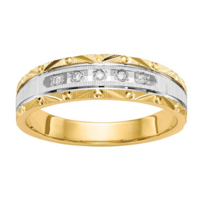 Mens 4mm Diamond Accent Genuine White Diamond 14K Gold Wedding Band