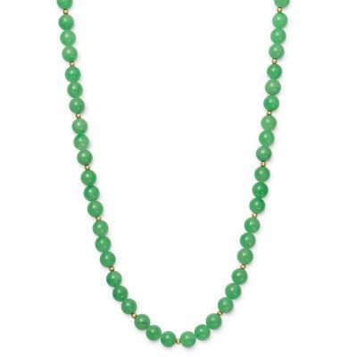 Womens Genuine Green Jade 14K Gold Round Strand Necklace