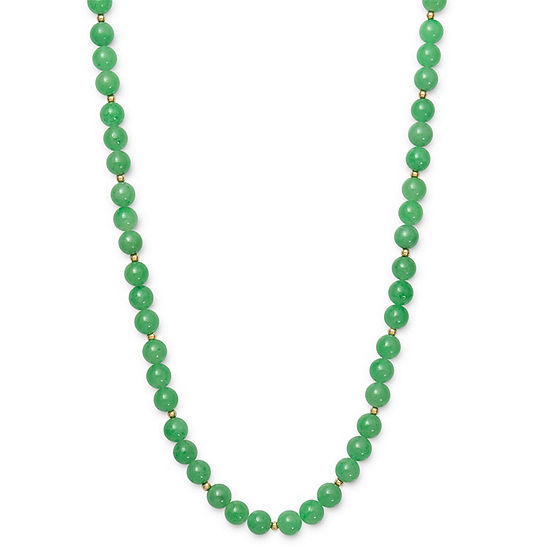Womens Genuine Green Jade 14K Gold Round Strand Necklace