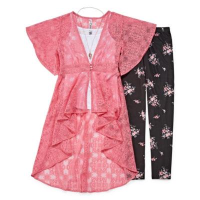 Knit Works Floral & Lace Duster Legging Set - Girls' 4-16 & Plus