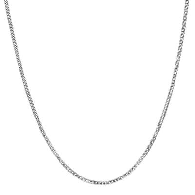 14K White Gold 24 Inch Solid Curb Chain Necklace