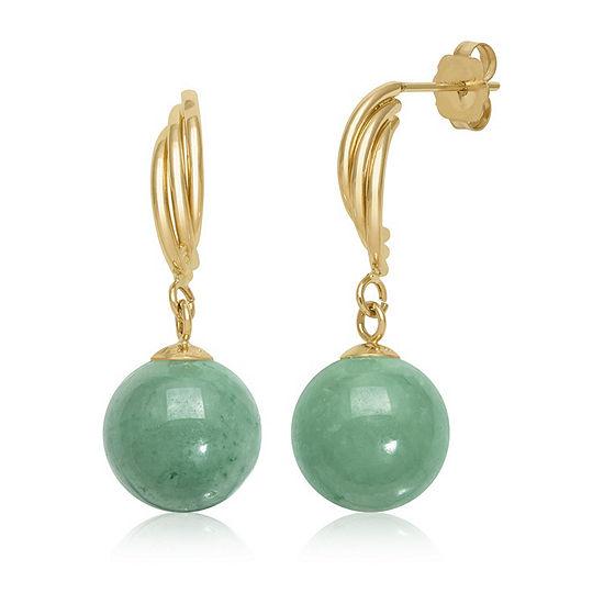 Green Jade 14K Gold Round Drop Earrings