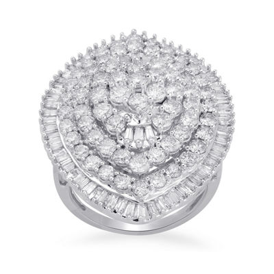 Diamond Blossom Womens 4 CT. T.W. Genuine White Diamond 10K Gold Cocktail Ring