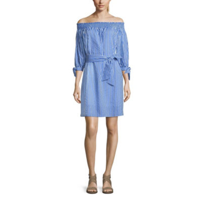 Belle + Sky Smock Off The Shoulder Tie Waist Dress