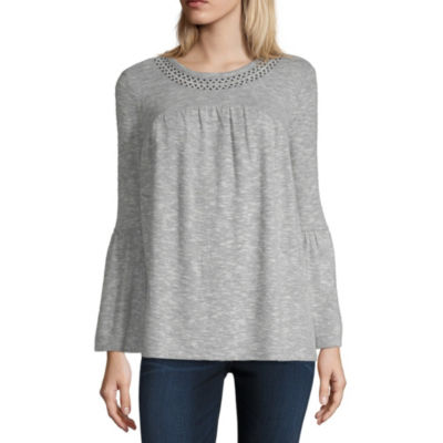 Liz Claiborne Long Sleeve Round Neck T-Shirt-Womens