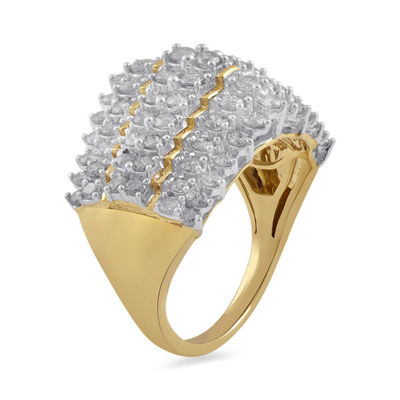 Womens 2 CT. T.W. Yellow Diamond 10K Gold Cocktail Ring